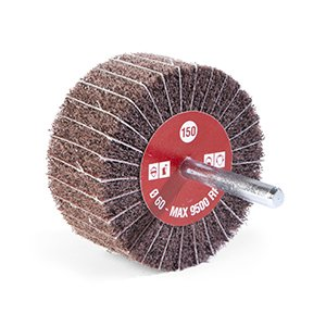 NON-WOVEN AND INTERLEAVED ABRASIVE FLAP WHEELS WITH SPINDLE - CTA Calflex